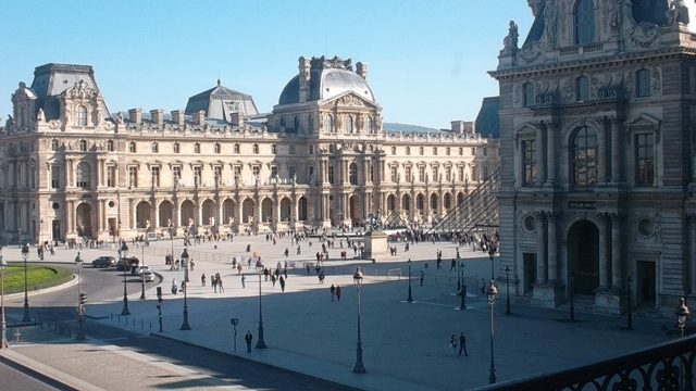 Louvre - from the inside looking out (Copyright Marilyn Z;.Tomlins)
