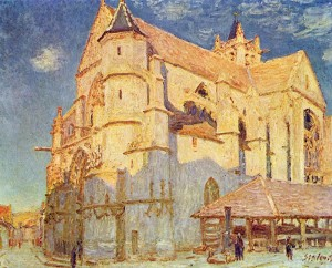 Sisley's painting of the Moret's Notre Dame Cathedral