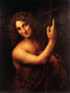 Leonardo Da Vinci's 'Saint John the Baptist'. The painting was taken in the Louvre by Marilyn Z. Tomlins before its 2016 restoration.