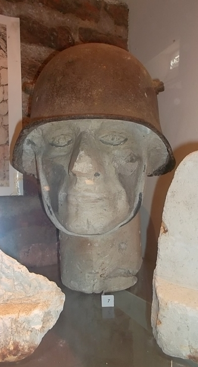WW1 helmet as can be seen at WW1 exhibition (cc Marilyn Z.Tomlins)