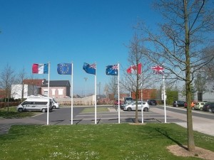 Flags of the countries who had died in the Battle of Arras at the Wellington Quarry Memorial (