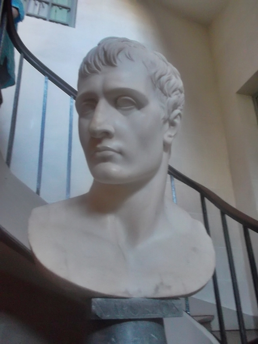 A marble bust of Napoleon on a staircase in the mansion of Malmaison (cc Marilyn Z. Tomlins)