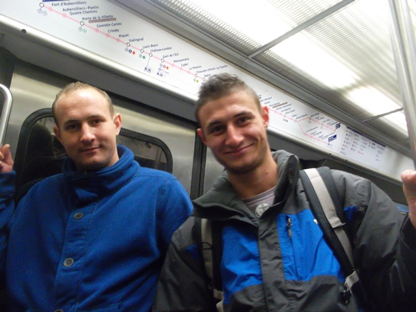 Two happy tourists in the Paris Metro (Copyright Marilyn Z. Tomlins)