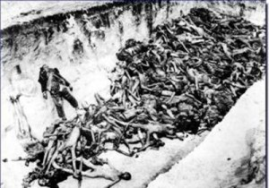 The bodies of Nazi Germany's victims in the ravine named Babi Yar