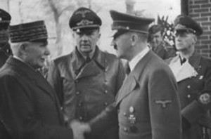 Hitler with Petain, head of the pro-German collaborationist government of France.